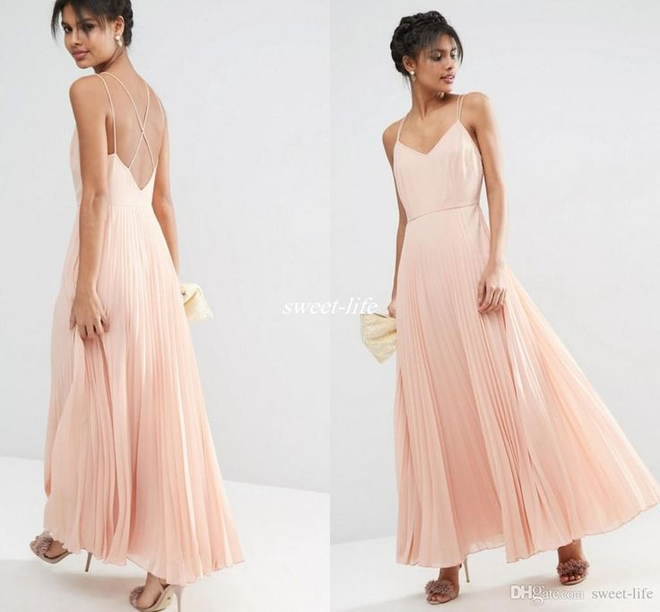 Sexy Boho Summer Beach Wedding Bridesmaid Dresses Spaghetti Straps Backless Pleated Blush Chiffon 2016 Prom Party Gowns Maid of Honor Dress Online with $75.19/Piece on Sweet-life's Store | DHgate.com