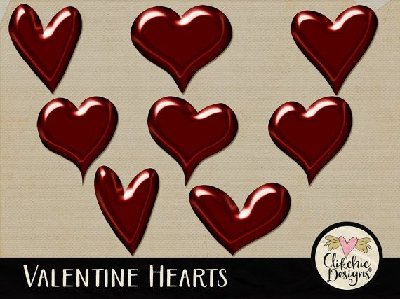 Digital Love Hearts Digital Scrapbook Clip Art by ClikchicDesign