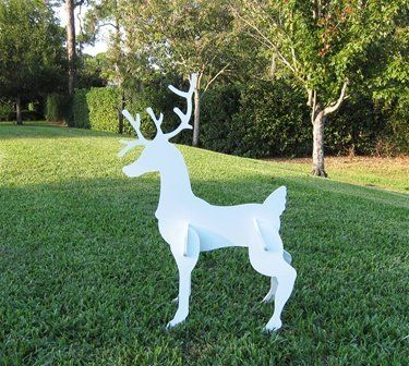 """Christmas Reindeer by Teak Isle. $60.00. cannot rot or delaminate and never will require painting. composed of marine grade PVC plastic. set slides together quickly and easily with no screws. 41"""" Tall x 29"""" Long x 11"""" Wide. no Fastener Assembly Required. 41"""" Tall x 29"""" Long x 11"""" Wide  Composed of marine grade PVC plastic, this set will last many years. The material is designed to withstand the wear and tear of boats and corrosive salt water it cannot rot or delaminate an..."""