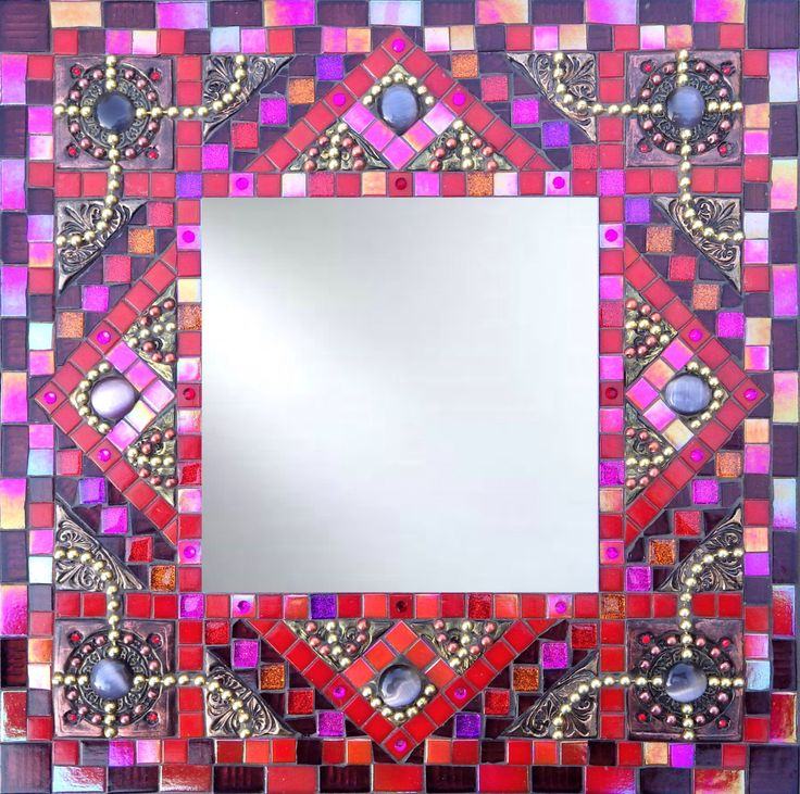 Mosaic mirror, mixed media mosaic mirror, square decorative handmade mirror, red purple pink metallic mirror, glass and polymer clay mirror by KarenHarryMosaic on Etsy https://www.etsy.com/listing/473119374/mosaic-mirror-mixed-media-mosaic-mirror