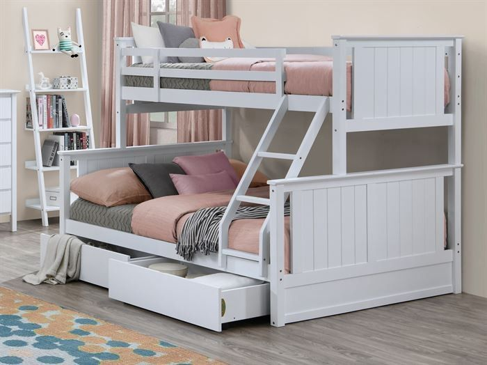 Myer White Triple Bunk Bed With Storage Drawers Hardwood Frame