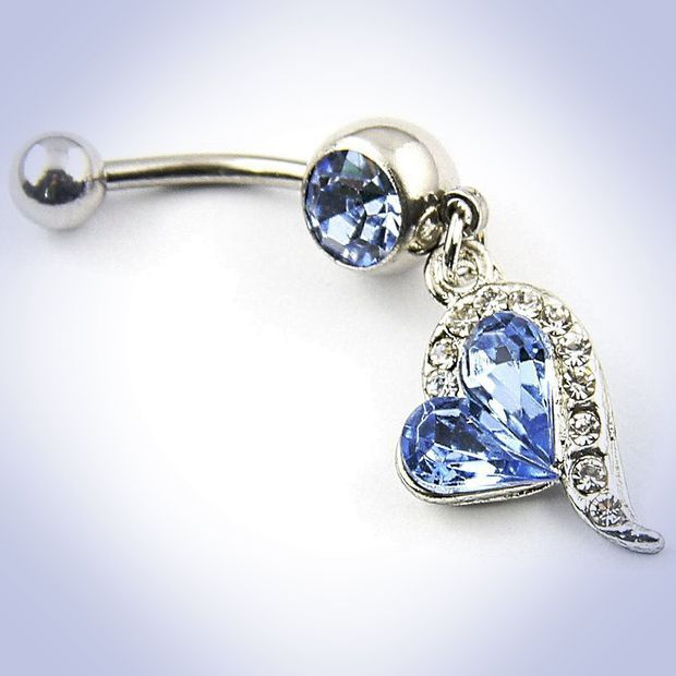 Surgical Steel 14g Navel Barbell Blue Rhinestones Heart Dangle Belly Buttton Ring Piercing+1 Retainer
