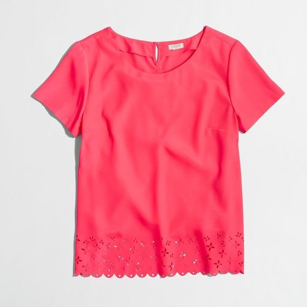 J.Crew Factory laser-cut tee ($45) ❤ liked on Polyvore featuring tops, t-shirts, red top, j crew t shirts, red tee, laser cut top and j crew tops