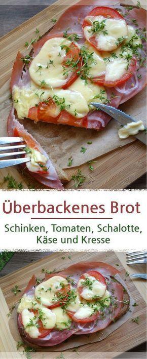 Rezept oder einfach nur als Idee, für ein leckeres belegtes Brot, mit Schinken und Käse im Backofen überbacken. #belegtebrote #überbacken