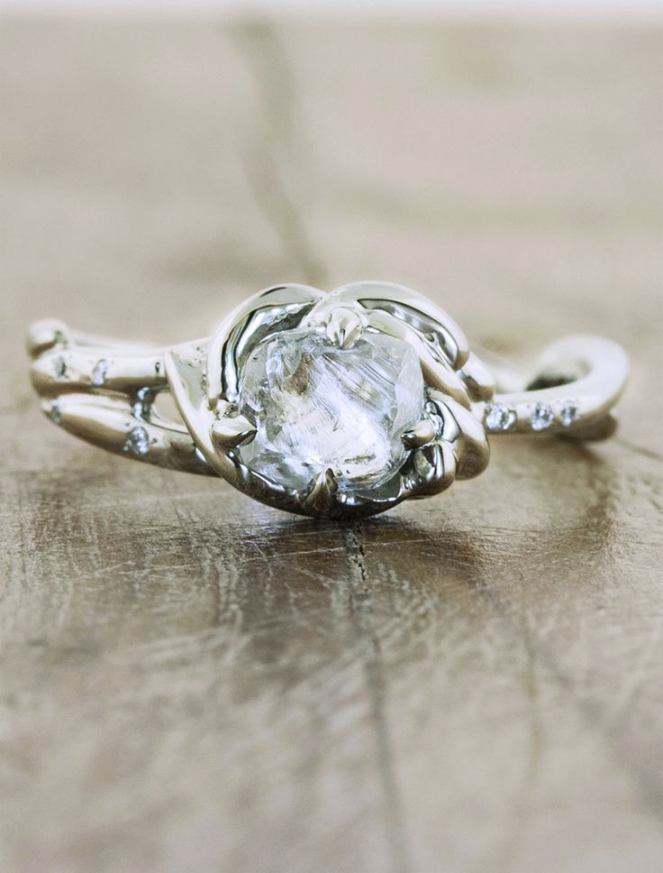 Rough Diamond Engagement Ring By Ken and Dana Design