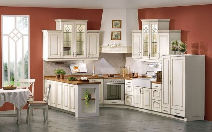 Kitchen Design Small White Corner Country Kitchen Design With Brown Kitchen Wall Paint Color And Grey Ceramic Tile Floor The Fairly Country Designs For Your Kitchen