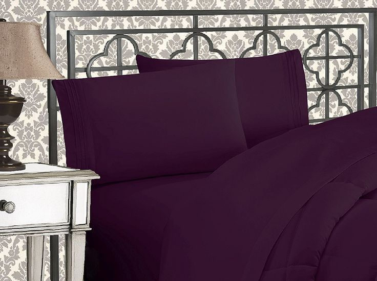 Elegant Comfort 4-Piece 1500 Thread Count Egyptian Quality Bed Sheet Sets with Deep Pockets, California King, Purple
