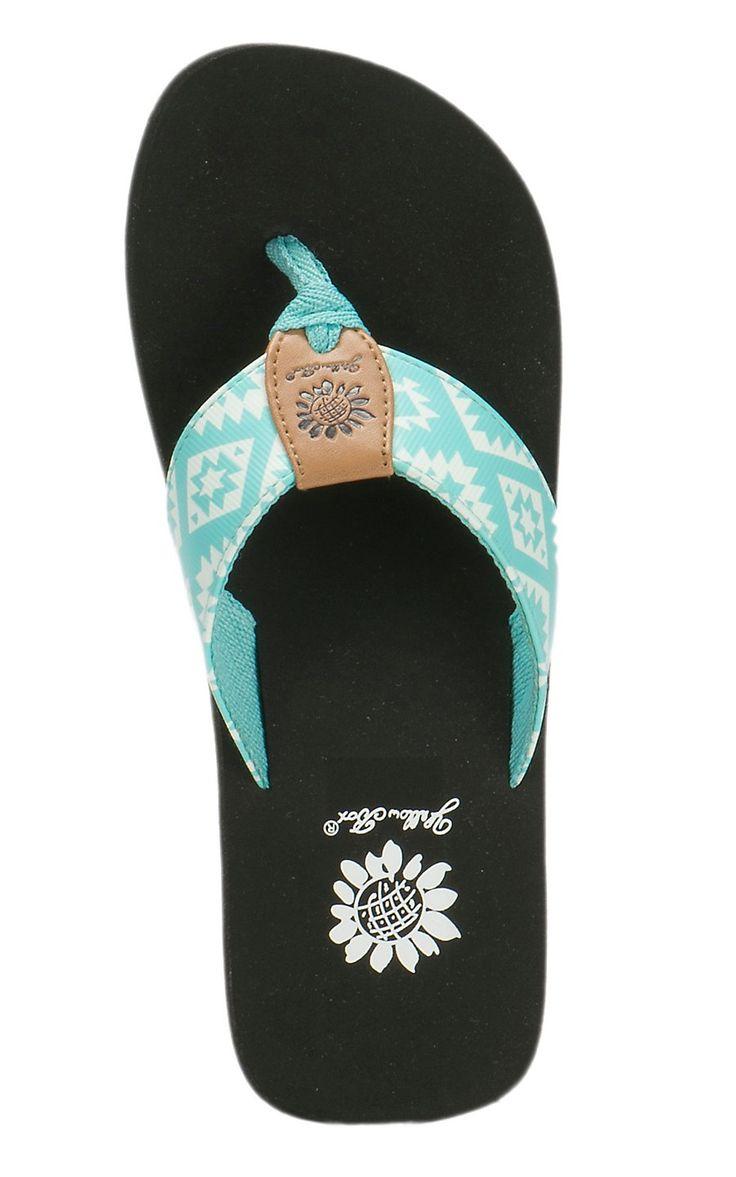 Yellow Box Women's Bandit Mint & White Aztec Print Flip Flops | Cavender's