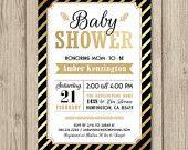 BABY SHOWER Invitation - Gold Baby Shower, Gold Foil, Gold Shimmer - 5x7 Size