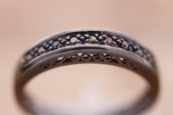 Cognac diamonds  mounted on Sterling Silver  by PetrosJewels