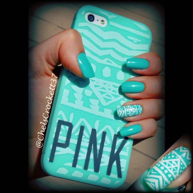 Nails to math my VS PINK iPhone case