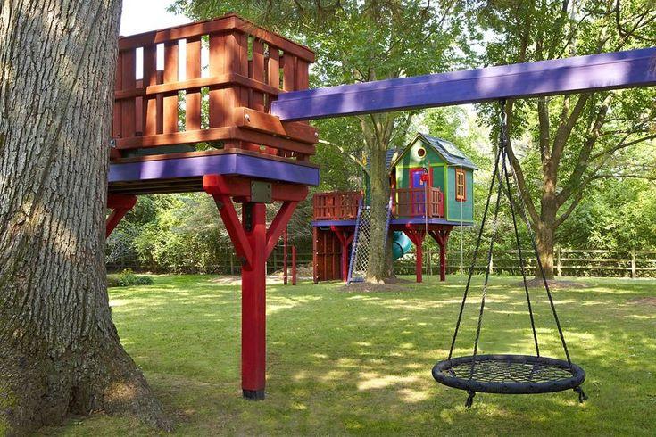 treehouse linked to zipline platform & swing   1000 in ...