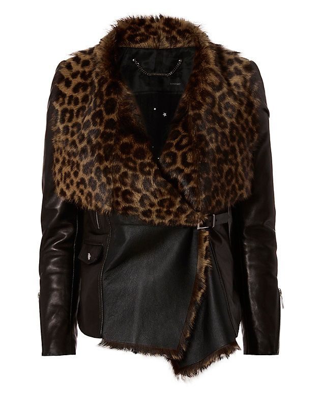 Barbara Bui Leopard Pattern Shearling Fur/Leather Jacket