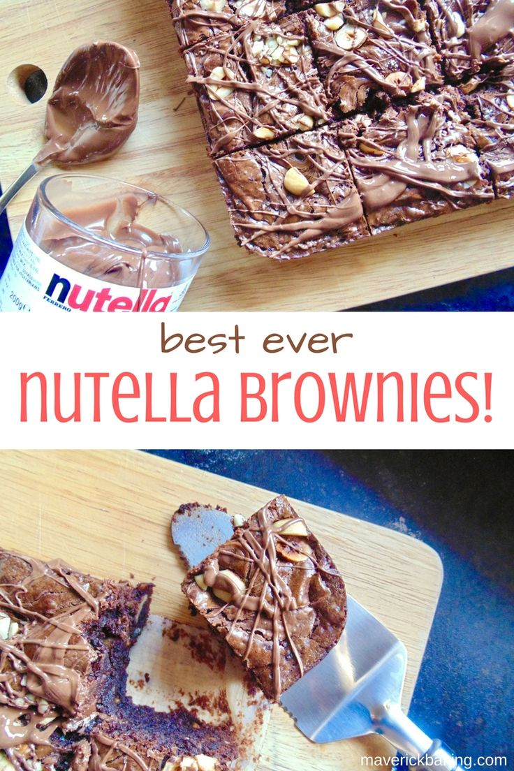 Best Ever Nutella Brownies! Fudgy, velvet-soft double chocolate brownies, full of toasted chopped hazelnuts and swirled with Nutella. These really are the best!