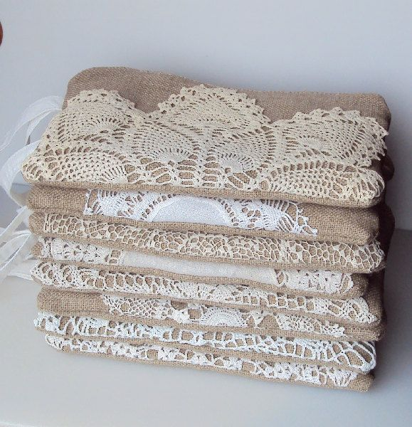 Set of 8 - Burlap Wristlets Vintage Doily - Bridesmaid Clutch - Rustic Wedding - Ivory White Lace Wedding Gift. $180.00, via Etsy.