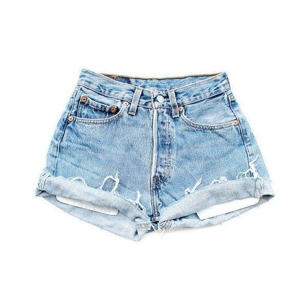 Pantalones cortos de talle alto luz vintage ($22) ❤ liked on Polyvore featuring shorts, blue, bottoms and denim