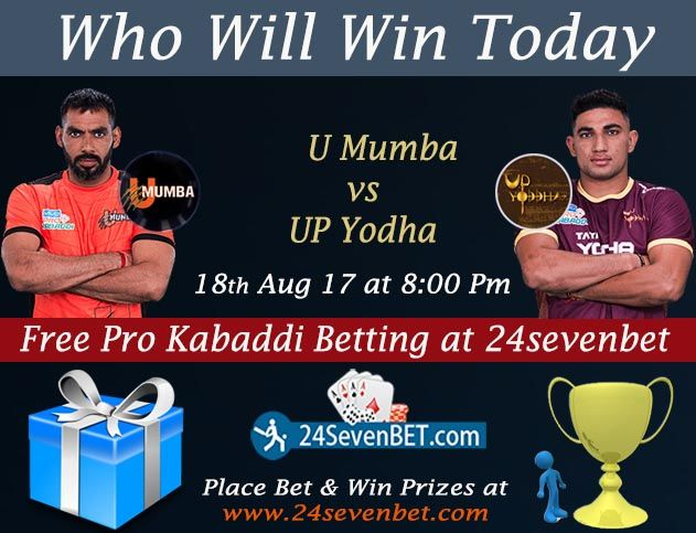 ProKabaddi League #Betting at 24sevenbet. Mumbai vs UP Place #Free Bet on your Favourite Team & #Win Prizes Online