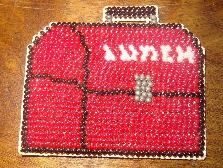 Fridge Red Lunch Box Beaded Handmade Glass Beads Finished Mill Hill School