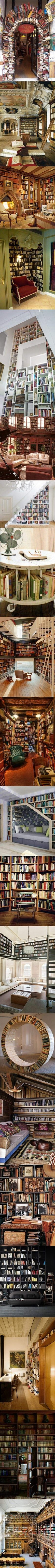 Gorgeous bookshelves and libraries.