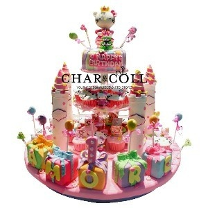 Hello Kitty Pink Castle Acrylics Tower Cake