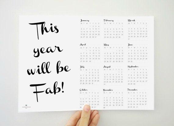 2015 will be a FABULOUS year! And you need a modern calendar to keep track of amazing days ahead!    The calendar comes as a PDF printable