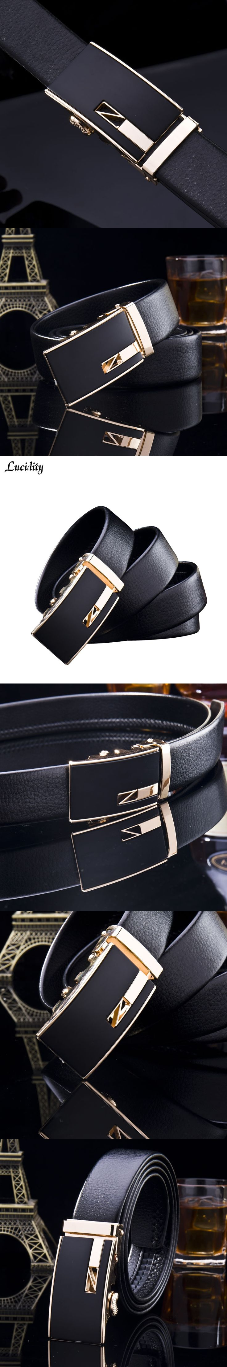 Lucidity Man Business Black Belts PU Leather Automatic Buckle Male Brand Belts Solid Color Alloy Belt Buckle Men Luxury Belts