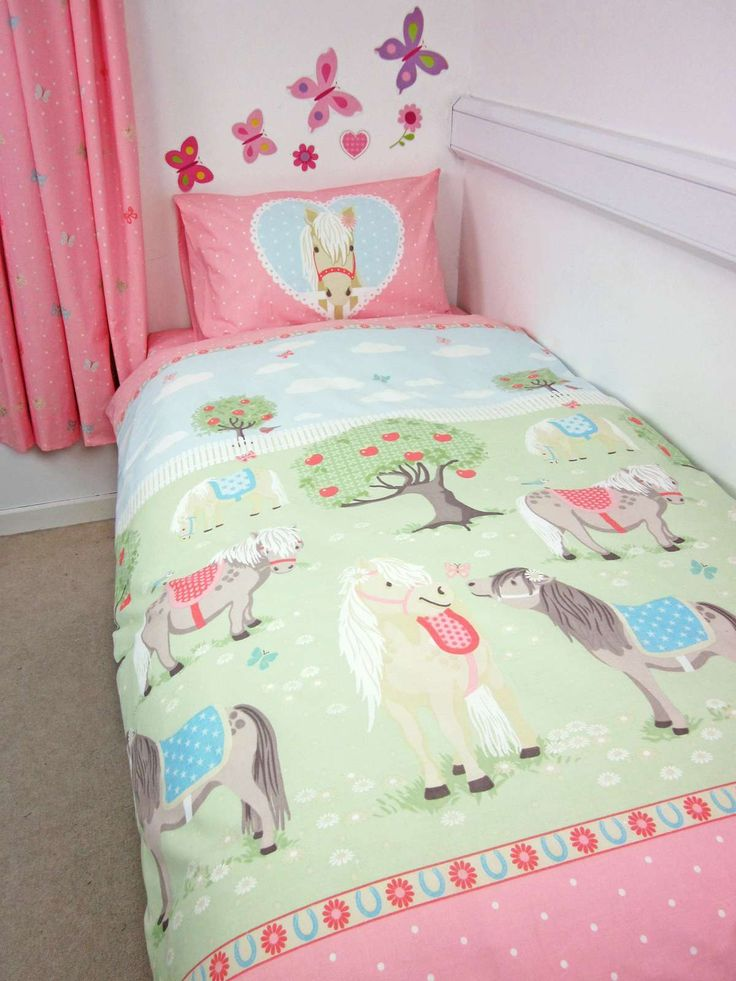 Catherine Lansfield brings you this adorable ponies bed set in pastel pink, pastel green and sky blue pony with a cute pony printed design. Available in standard single size only. Includes doona cover and pillow case. 52% polyester 48% cotton. Machine Washable