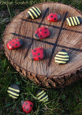 """Perfect use for the rings we cut from our tree. Paint large rocks as ladybugs and bumble bees. Another """"after the kids are in bed"""" project."""