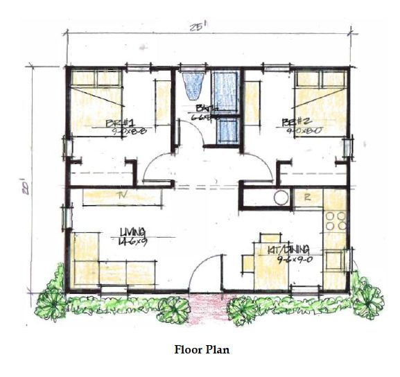 two bedroom 500 sq ft house plans - Google Search
