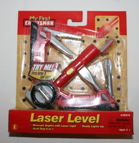 My First Craftsman Toy Laser Level - Red by Sears. $12.79. Multi-tool 6 in 1: Real Working Level / Utility Blade / Saw Blade / Real Laser Light / Cross-head Screwdriver / Flat-head Screwdriver. Ages 3+. Measures Angles with Laser Light / Really lights up. Requires (3) 1.5V AG3 Batteries (included). My First Craftsman Toy Laser Level - Red. The My First Craftsman Toy Laser Level is great for pretend play, looks like the real thing and really lights up. This Multi-tool 6 i...