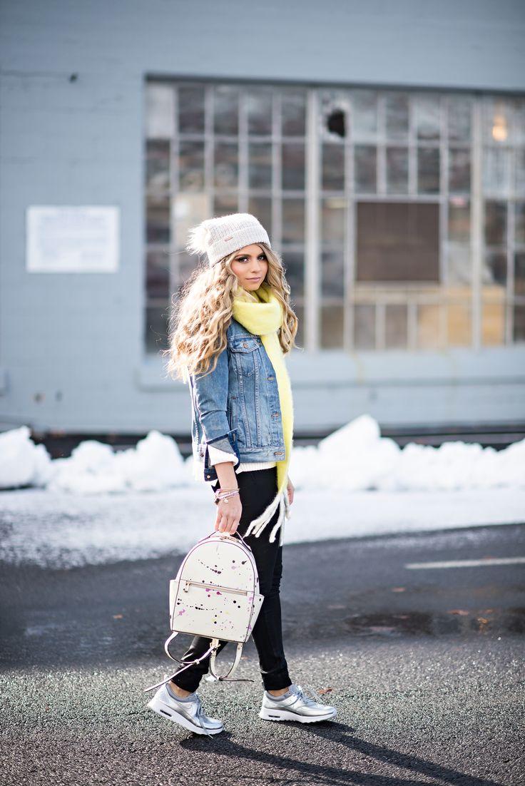 Silver nikes. Street Style. Denim Jacket. #madewell #streetstyle #womensfashion