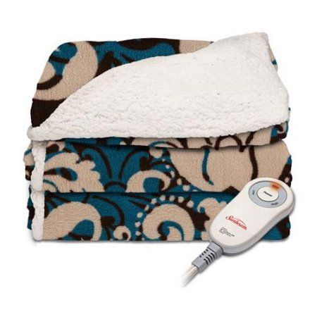 Sunbeam Sherpa Imperial Plush Electric Heated Throw Blankets - Assorted Colors, Brown
