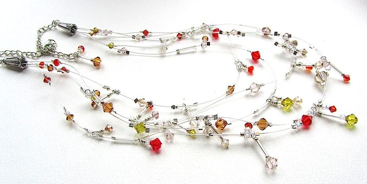 'Crystal Cascade' is an adaptation of the 'floater' necklace technique, loads of sparkle and movement and very very simple to do!