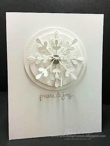 Stampin' Up!  ... handmade Christmas card from ARTfelt Impressions ... white medallion on one layer white card ...  circles, piercing  and die cut snowflakes ... like the light gray ink in the sentiment ...