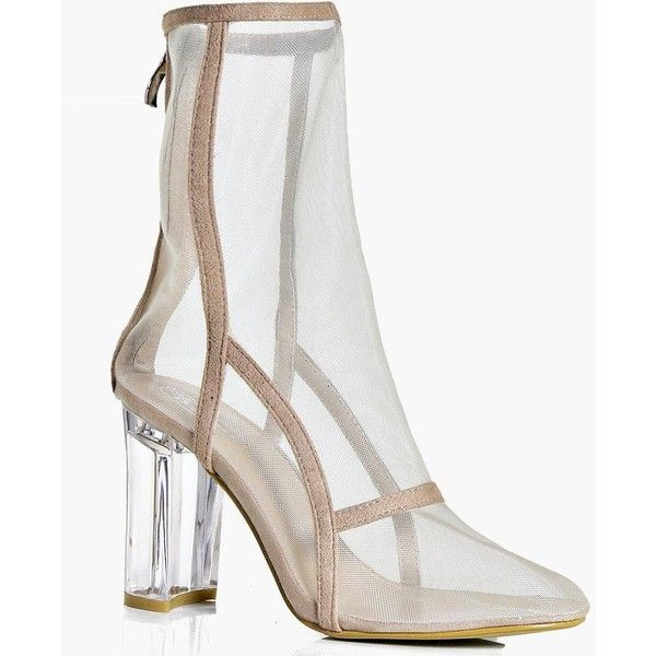 Boohoo Bethany Clear Cylinder Heel Mesh Shoe Boot ($52) ❤ liked on Polyvore featuring shoes, boots, ankle booties, floral print booties, floral-print boots, mesh boots, high heel booties and twisted boots