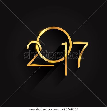 Vector 2017 Happy New Year background, text design golden colored, vector elements for calendar and greeting card