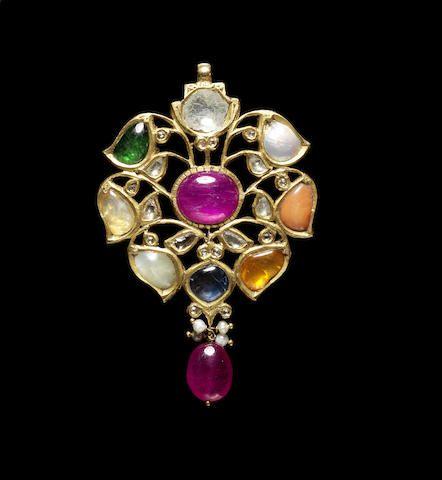 A gem-set Navaratna gold Pendant India, 20th Century