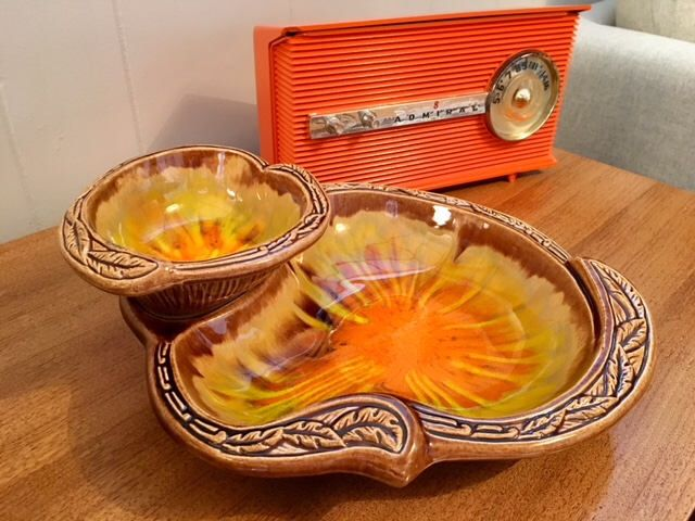 Excited to share the latest addition to my #etsy shop: Vintage California Pottery 2 Tier Chip and Dip Server with Orange/Brown/Green Drip Glaze