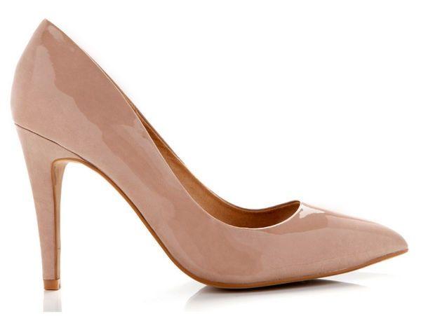 Nude y charol salones zapato reina taco aguja