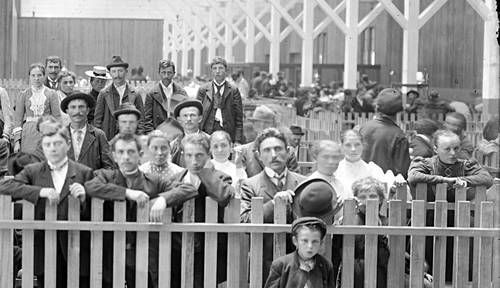 Immigrants at Locust Point [pens for destination separation] Baltimore, Maryland ca. 1904 or 1910 Unidentified photographer 8x10 inch glass negative Baltimore and Ohio Railroad Collection Baltimore City Life Museum Collection Maryland Historical Society MC4733 .4  Full image and two details. Click to enlarge.