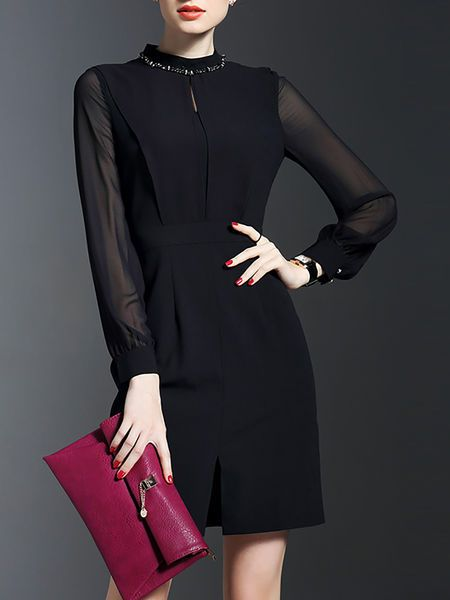 Beaded Plain #Mini #Dress