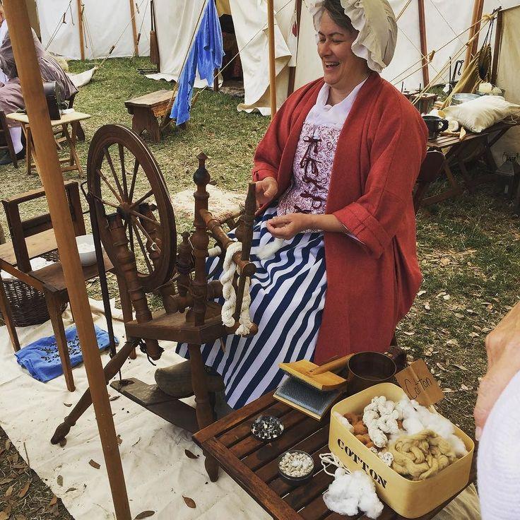 Spinning wool.