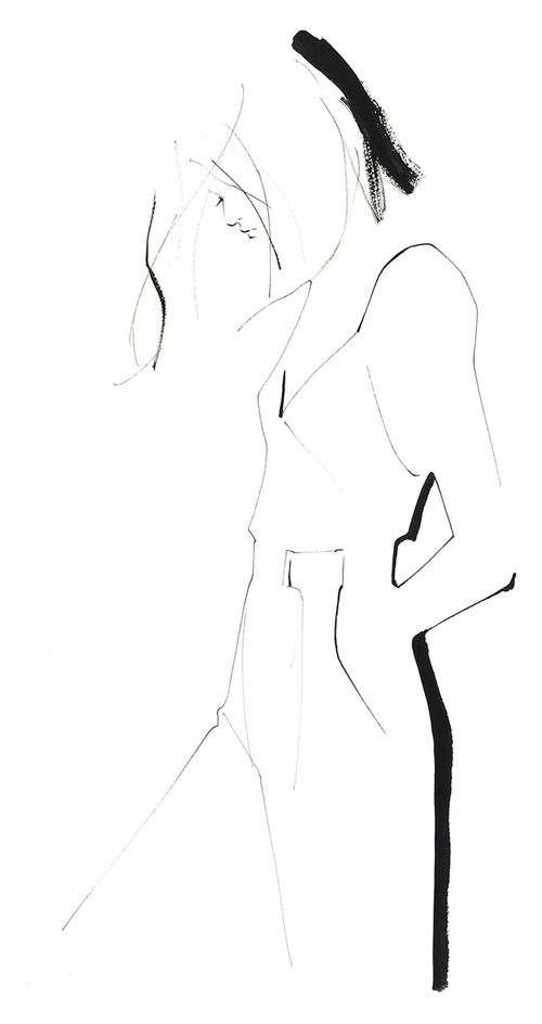 LOUS Warsaw inspiration Fashion illustration - minimal fashion sketch // Yoco Nagamiya