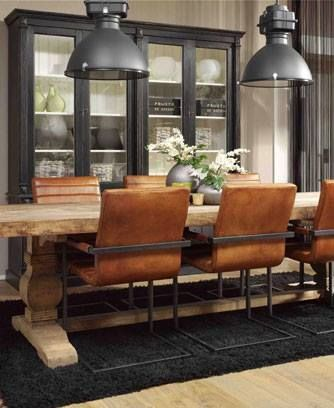 Industrial lightning, rustic table and a hutch. The Chairs look like old cinema chairs - I LOVE it!