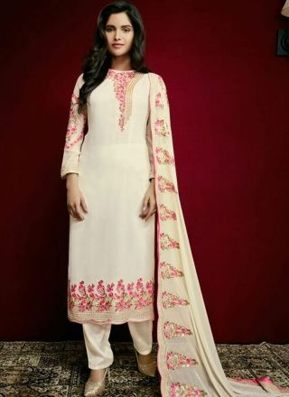 Off White Embroidery Work Georgette Santoon Designer Fancy Pakistani Suit http://www.angelnx.com/Salwar-Kameez/Pakistani-Suits