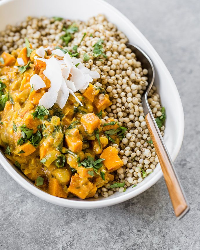Sweet Potato CurrySweet Potato, Chickpea, and Spinach Curry