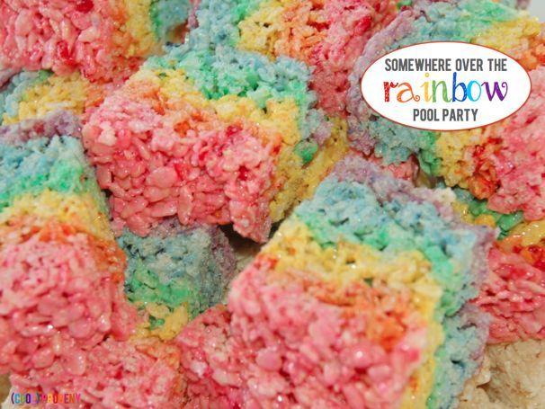 Rainbow Rice Krispies Treats!  Somewhere Over the Rainbow Pool Party - (cool) progeny