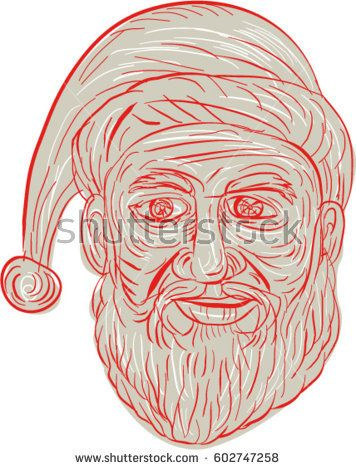 Drawing sketch style illustration of a melancholy Santa Claus looking sad, gloomy and dejected viewed from front set on isolated white background.   #santaclaus #drawing #illustration
