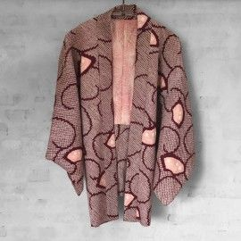 Kimono bourdeaux coral shibori from itoko.dk