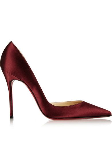 Christian Louboutin Iriza 100 Satin d'Orsay Pumps, $625 at Net-a-Porter. The d'Orsay silhouette cuts a flattering line on the foot. Try a non-black shade, like this burgundy satin, to go with your simple black event dress.